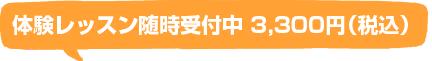 体験レッスン随時受付中3,300円(税込)