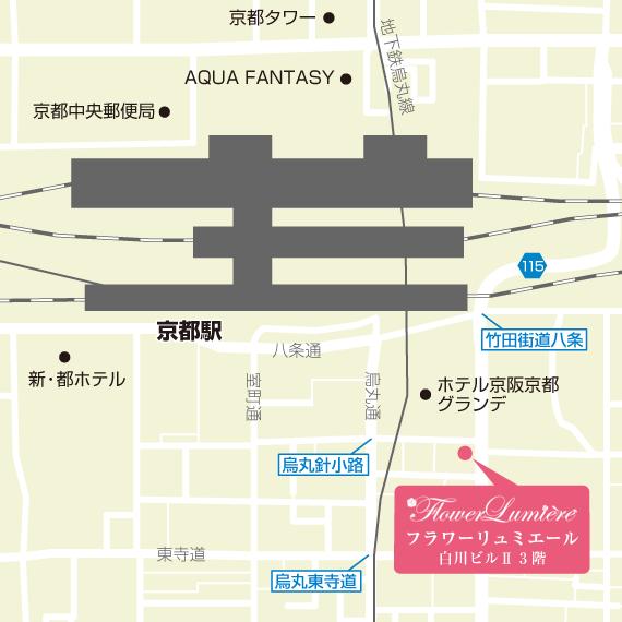 【地図】 京都プリザーブドフラワー教室 フラワーリュミエール